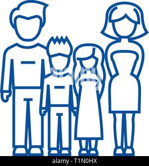Famille, père, mère, fils, fille icône ligne concept. Famille, père, mère, fils, fille, symbole vecteur télévision signe, contours illustration.