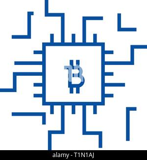 L'icône de la ligne concept Fintech concept. Notion de vecteur Fintech télévision symbole, signe, contours illustration. Banque D'Images