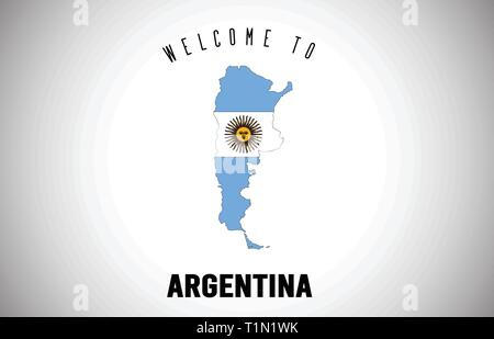 L'Argentine Bienvenue à texte et drapeau du pays à l'intérieur des frontières du pays. Carte de l'Uruguay avec drapeau national Design Vector Illustration. Banque D'Images