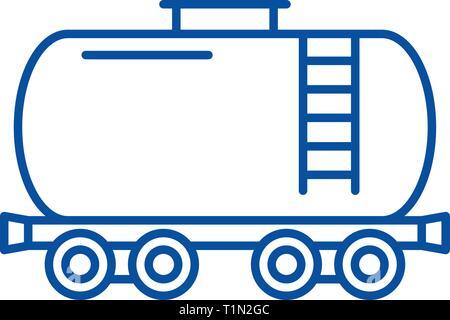 L'icône de la ligne du réservoir de carburant concept. Le réservoir de carburant à plat, signe, symbole vecteur illustration contour. Banque D'Images
