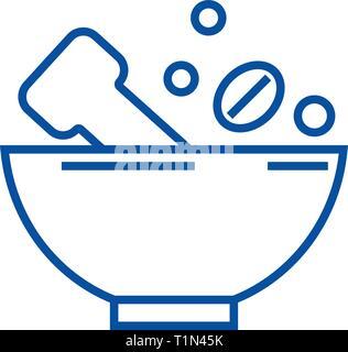 Broyer les épices icône ligne concept. Broyer les épices télévision vector symbole, signe, contours illustration. Banque D'Images