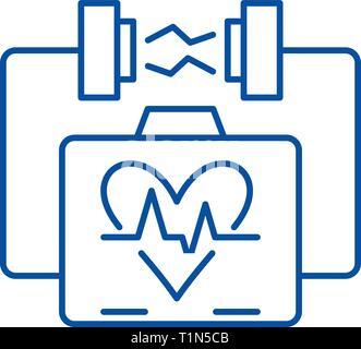 L'icône de la ligne de la stimulation cardiaque concept. La stimulation cardiaque symbole vecteur télévision, signe, contours illustration. Banque D'Images