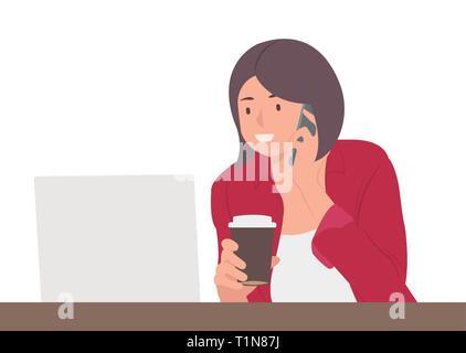 Cartoon caractères des gens design jeune femme travaillant sur ordinateur portable et talking on mobile phone. Idéal pour l'imprimé et le web design.