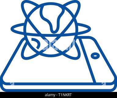 L'icône de la ligne du réseau mondial Mobile concept. Réseau mondial de télévision mobile, signe, symbole vecteur illustration contour. Banque D'Images
