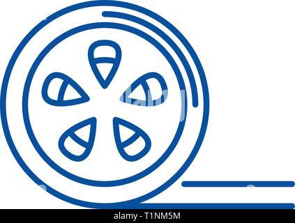 L'icône de la ligne de bobine de film concept. Bobine de Film télévision vector symbole, signe, contours illustration. Banque D'Images