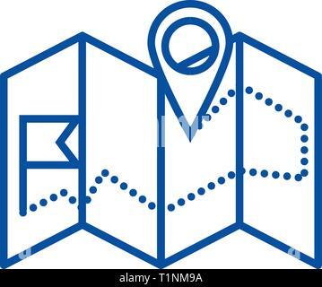 L'icône de la ligne de la carte de navigation concept. La carte de navigation, symbole vecteur télévision signe, contours illustration. Banque D'Images
