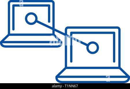 P2p sur l'icône de la ligne de communication concept. P2p télévision communication, signe, symbole vecteur illustration contour. Banque D'Images