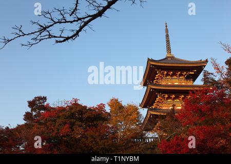 Coucher du soleil d'automne frappe le Pagdoa à trois niveaux, le Kiyomizu-dera, temple bouddhiste, Kyoto. Banque D'Images