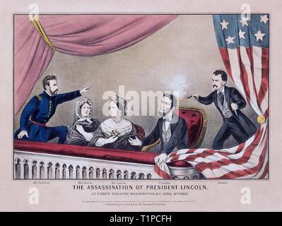 Assassinat du président Abraham Lincoln, 1865, lithographie en couleur à la main, Collection privée. De gauche à droite, Henry Rathbone, Clara Harris, Mary Todd Lincoln, Abraham Lincoln et John Wilkes Booth. Banque D'Images