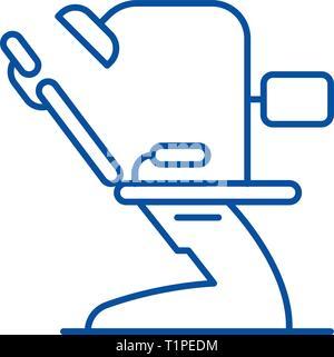 L'icône de la ligne du cabinet dentaire concept. Cabinet dentaire télévision vector symbole, signe, contours illustration.