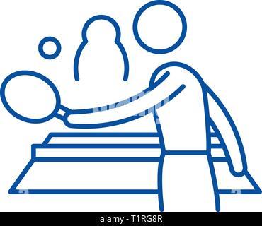 Ping pong jouer icône ligne concept. Ping pong jouer télévision vector symbole, signe, contours illustration. Banque D'Images