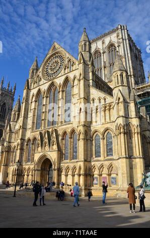 À partir de la cathédrale de York Minster, York, North Yorkshire, Angleterre, Février 2019
