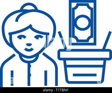 Salaire,femme avec panier argent icône ligne concept. Salaire,femme avec panier argent télévision, signe, symbole vecteur illustration contour. Banque D'Images