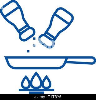 L'icône de la ligne de l'alimentation assaisonnement concept. Télévision alimentaire assaisonnement, signe, symbole vecteur illustration contour. Banque D'Images
