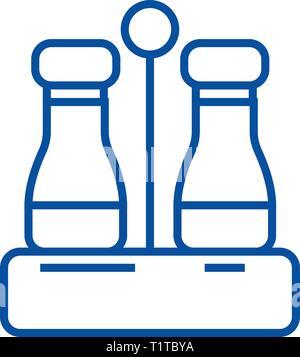 Assaisonner de sel et poivre,icône ligne concept. Assaisonner de sel et poivre,télévision, signe, symbole vecteur illustration contour. Banque D'Images