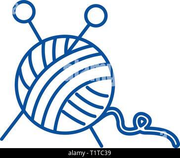 Pelote de laine,Couture,aiguilles à une icône ligne concept. Pelote de laine,Couture,des aiguilles à tricoter à plat, signe, symbole vecteur illustration contour.