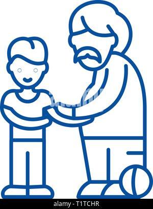 Fils et père icône ligne concept. Fils et père symbole vecteur télévision, signe, contours illustration.