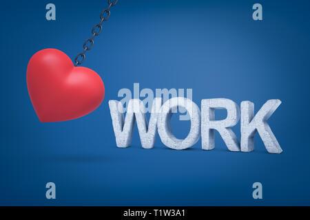 Le rendu 3D de big red heart hanging on travail avec chaîne en métal signe concret sur fond bleu Banque D'Images
