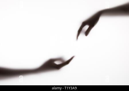 Portrait de deux mains gesturing on white Banque D'Images
