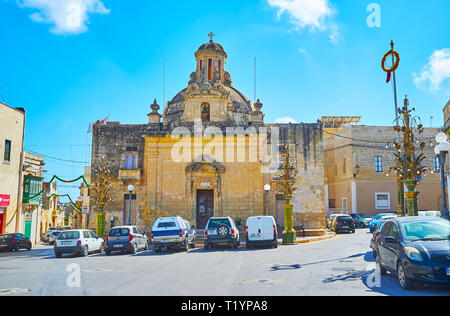 SIGGIEWI, MALTE - 16 juin 2018: l'ancienne chapelle de St Jean Baptiste (San Gwann il-Battista) situé dans le vieux centre-ville, le 16 juin à Siggiewi