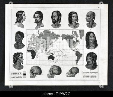 1849 La carte et le graphique montrant les différentes races ethniques et la distribution dans le monde Banque D'Images