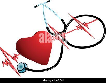 L'illustration montre un ensemble d'images du symbole du cœur, cardiogrammes et tonomètre. Faite dans le vector isolé sur fond blanc. Banque D'Images