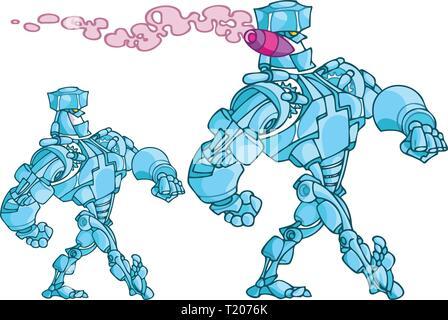 L'illustration montre robot humanoïde marche fumeurs de cigare, fait dans un style de dessin animé. Banque D'Images