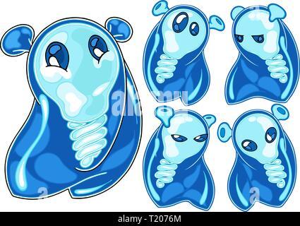 L'illustration montre la tête de lampe bleu mignon alien dans différentes poses d'émotion. L'illustration fait en style cartoon. Caractère indiqué dans une couche séparée Banque D'Images