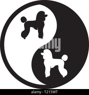 Yin Yang - deux chiens - Logo noir et blanc Banque D'Images