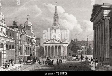 St Martin-in-the-Fields, London, UK, illustration par Th. H. Berger, 1826 Banque D'Images