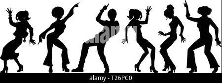Silhouettes collection set. les jeunes danser. hommes femmes garçons filles. Pop art retro vintage kitsch vector illustration Banque D'Images