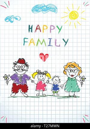 Happy Family Kids photo de petit garçon et fille tenant la main de personnes adultes Homme et femme sous les nuages et soleil sur fond à carreaux. Doodl Banque D'Images