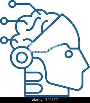 L'intelligence artificielle et l'icône de la ligne robotique concept. L'intelligence artificielle et la robotique télévision vector symbole, signe, contours illustration. Banque D'Images