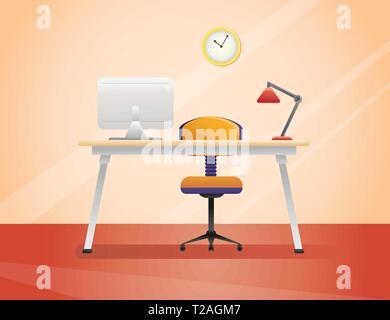 Bureau de travail, télévision dans le style. Illustration vecteur de l'intérieur