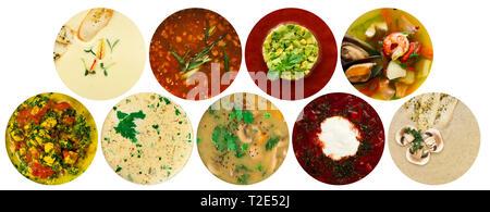 Assortiment de soupes, collage de différents types d'pottages brothes, et crème soupes Banque D'Images