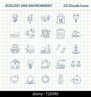 L'écologie et l'environnement 25 icônes Doodle. Hand Drawn Business Icon Set Banque D'Images