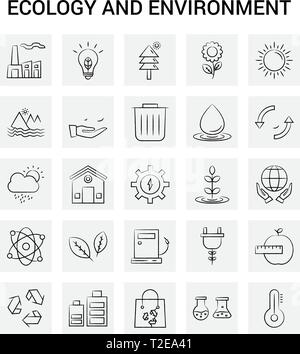25 Hand Drawn Écologie et environnement icon set. Doodle Vecteur Fond gris Banque D'Images