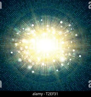La technologie numérique blue square circle of gold glitter background centre d'éclatement. Vous pouvez utiliser pour couvrir futuriste, ad, poster, copy space, artwork. Banque D'Images