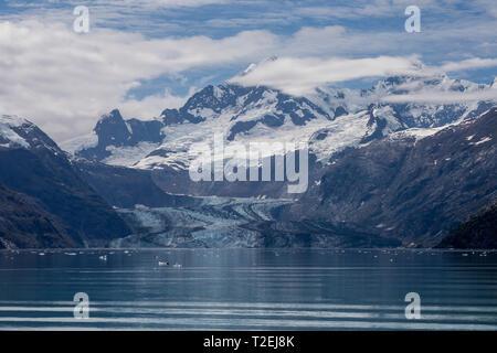 La Johns Hopkins Glacier dans l'entrée de l'Université Johns Hopkins, Glacier Bay National Park, Alaska Banque D'Images