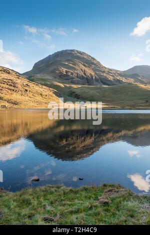Un est tombé dans le Lake District se reflète dans Styhead Tarn près de Scafell Pike. Banque D'Images