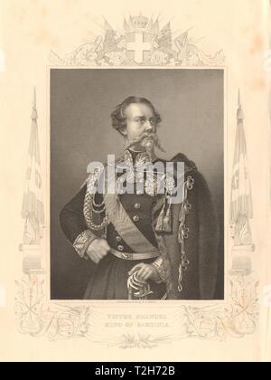 Victor Emmanuel II, Roi de Sardaigne 1860 ancienne vintage print photo Banque D'Images