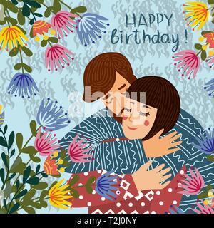 Joyeux anniversaire. L\u0027homme embrasse et félicite une femme