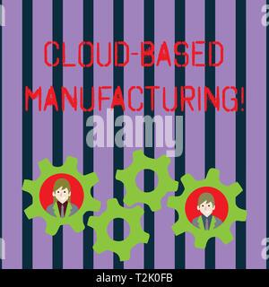La main conceptuel montrant la fabrication de Cloud Computing. Sens développé à partir de la notion de paradigme actuel des modèles avancés de deux personnes à l'intérieur Banque D'Images
