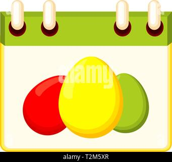 Calendrier de pâques coloré cartoon. Date de chasse aux œufs. Maison de vacances illustration vectorielle à thème chrétien pour stamp, étiquette, certificat, brochure, carte-cadeau, poster Banque D'Images