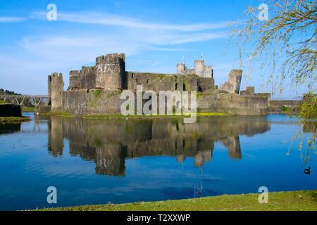 Château de Caerphilly, près de Cardiff, Pays de Galles, Royaume-Uni au soleil du printemps Banque D'Images