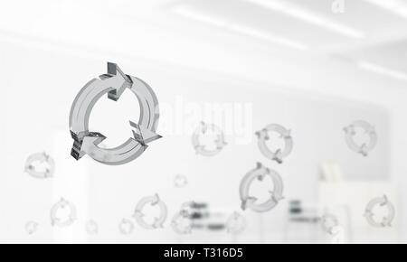 Recyclage de verre icônes voler dans un intérieur moderne. Technique mixte Banque D'Images