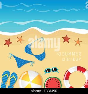 Différents ustensiles de plage des vacances d'arrière-plan avec des tongs et bikini lunettes étoile de vector illustration EPS10 Banque D'Images