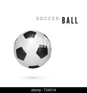 Ballon de soccer avec l'ombre. Balle en cuir blanc isolé sur bavkground. Vector illustration Banque D'Images
