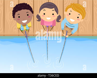 Illustration de Stickman Kids Holding des cannes à pêche au bord du lac jusqu'à la Banque D'Images