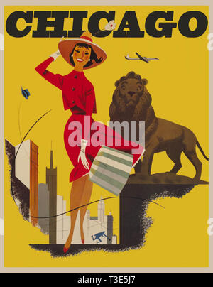 Vintage-travel-poster-Chicago Banque D'Images